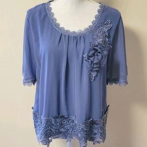 Pretty Angel blue silk blend blouse size large